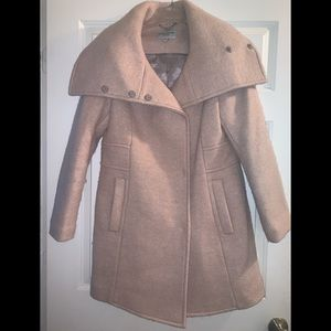 Cole Haan signature pink nude wool trench coat 12